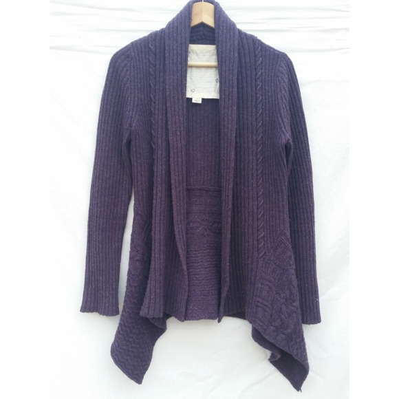 Anthropologie Sweaters - Anthropologie Purple Ribbed Open Cardigan Small